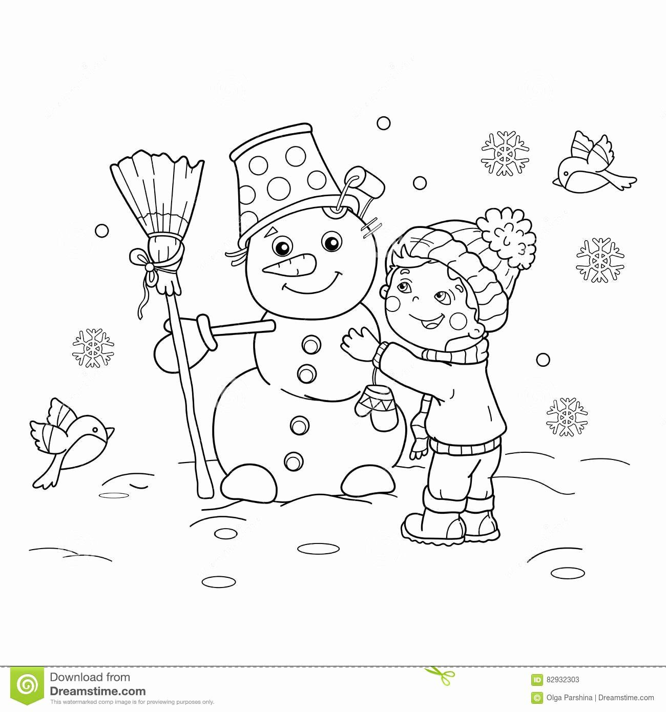 Winter Coloring Sheets For Kids Luxury Coloring Page Outline Cartoon Boy With Snowman Winter Coloring Sheets For Kids Coloring Pages Coloring Sheets