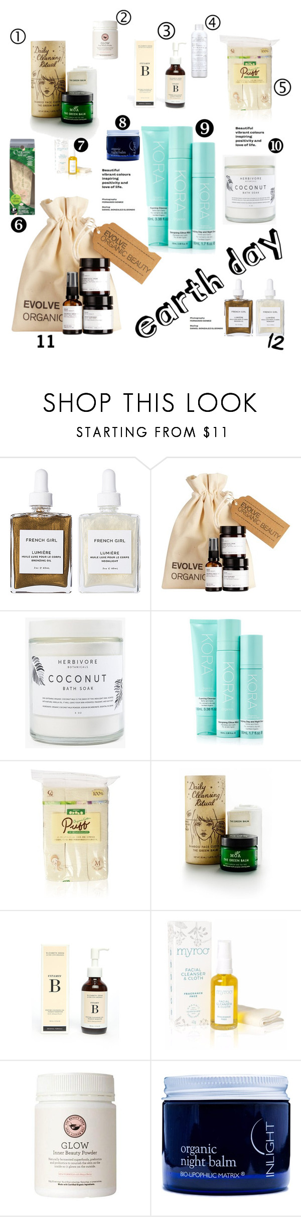 """""""Earth Day"""" by morellemomo ❤ liked on Polyvore featuring beauty, French Girl, Herbivore, KORA Organics by Miranda Kerr, MOA Magic Organic Apothecary, One Love Organics, Physicians Formula, Inlight Skincare and VMV Hypoallergenics"""