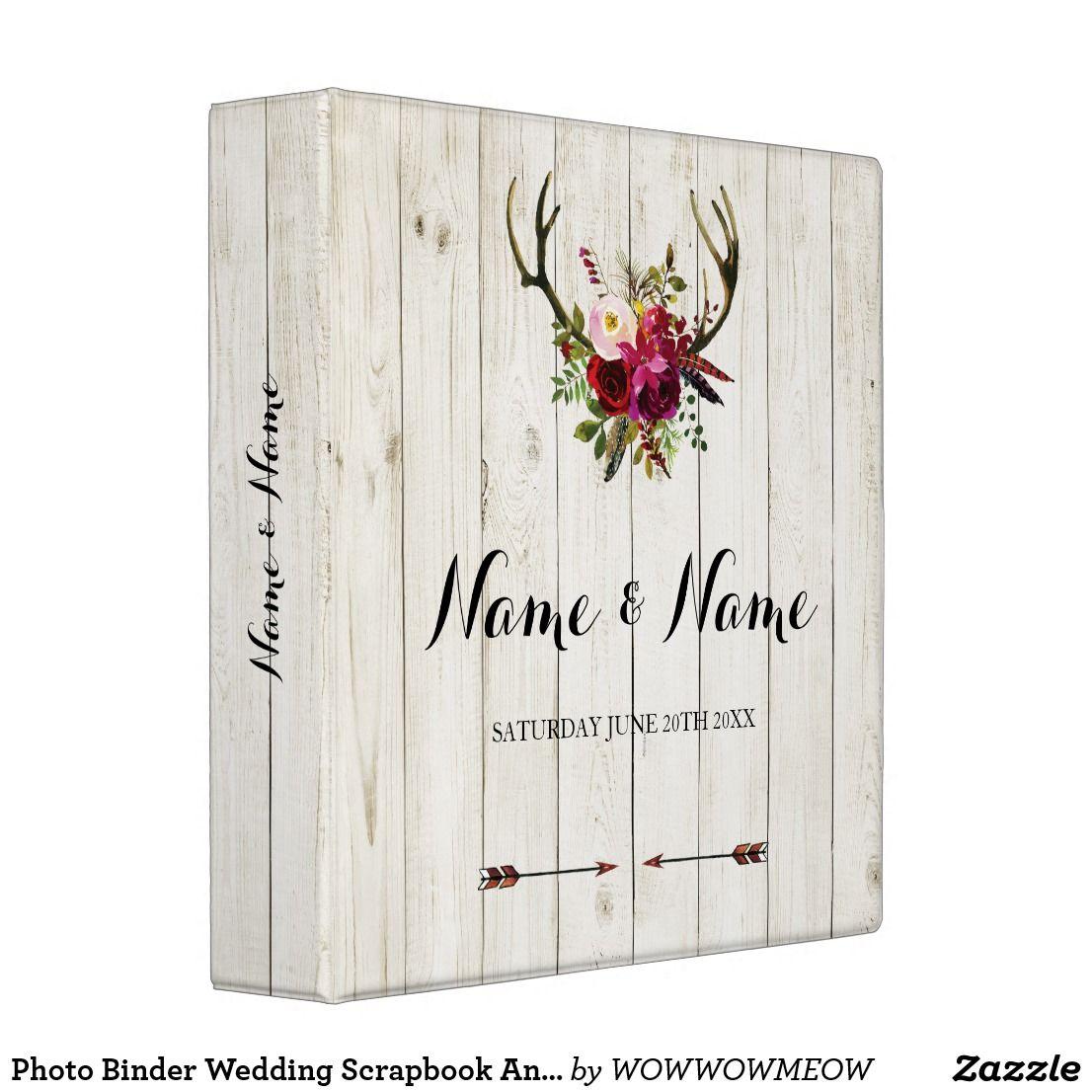 Photo Binder Wedding Scrapbook Antlers Rustic