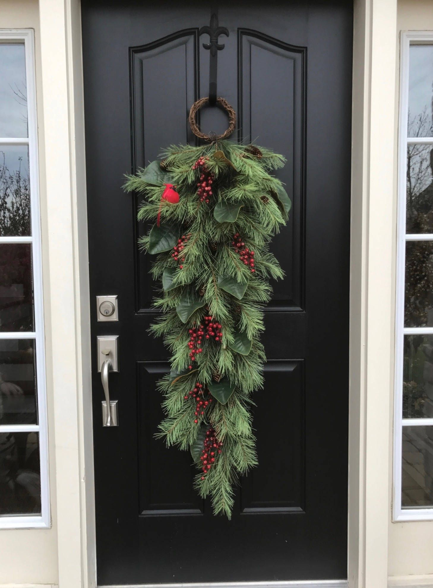 Photo of Christmas Swag, XL Christmas Wreath, Winter Wreath, Holiday Pine Wreath and Magnolia, Front Door Christmas Swags, Pine and Magnolia