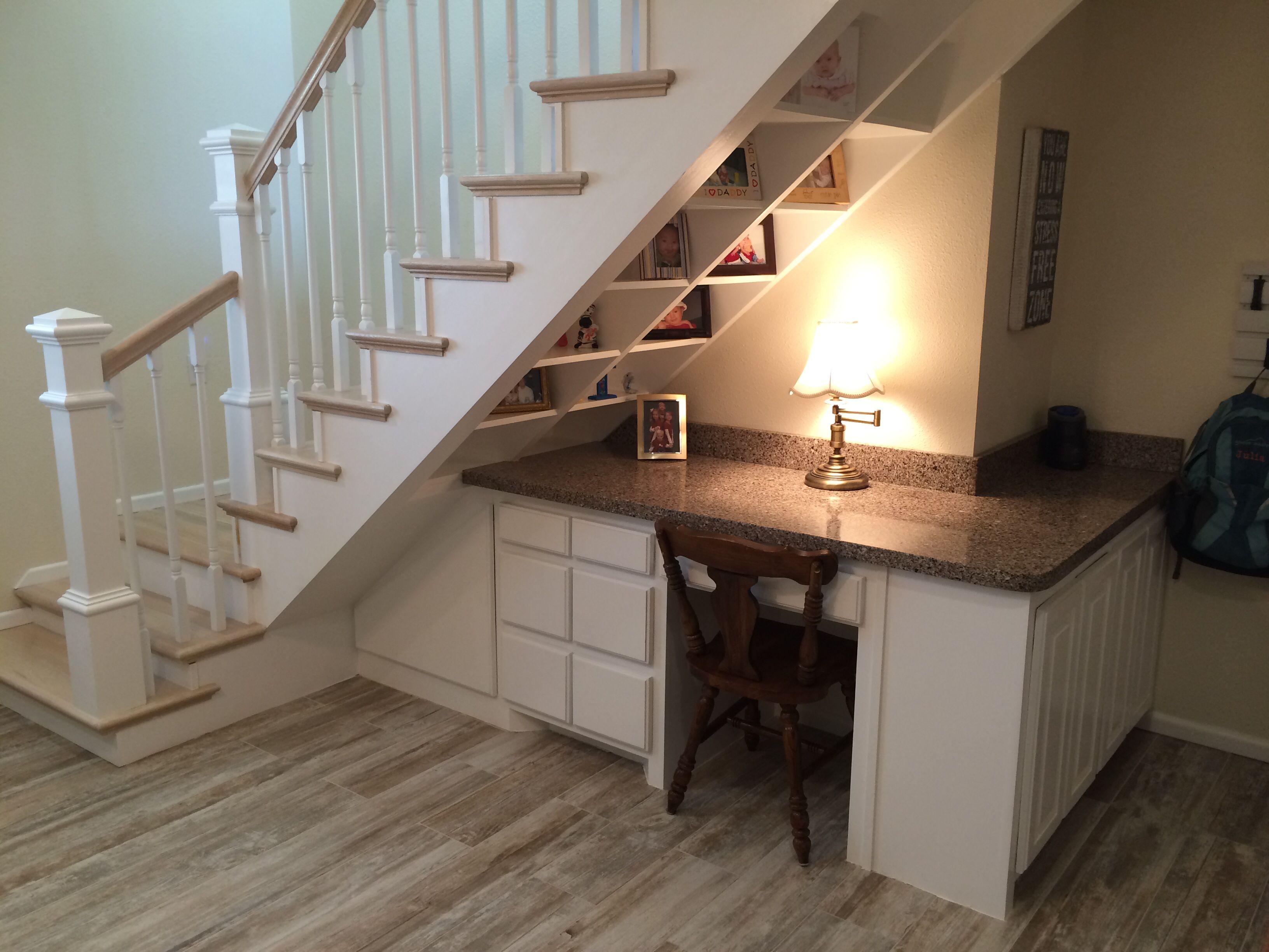 Desk under Stairs   Basement design, Desk under stairs ...