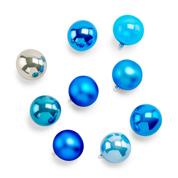 Large Classic Blue Ball Glass Ornaments Set Of 9 In Color Ornament Decor Ornament Set Glass Ornaments