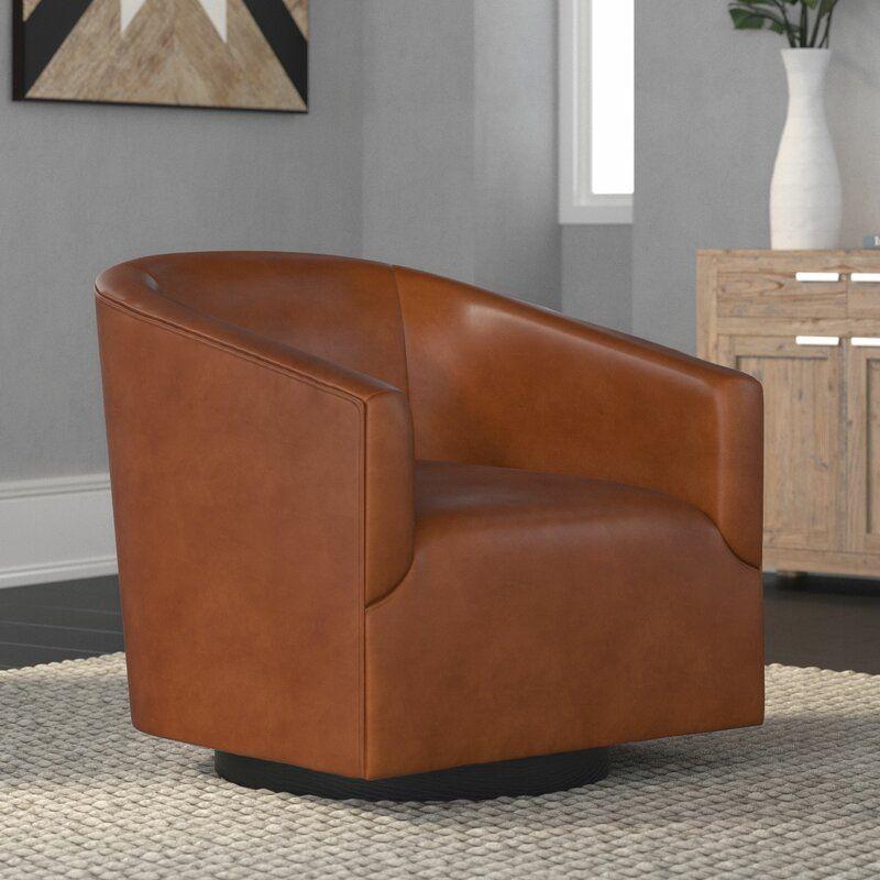 Mcintyre Swivel 22 75 W Barrel Chair Brown Leather Chairs Swivel Chair Living Room Barrel Chair