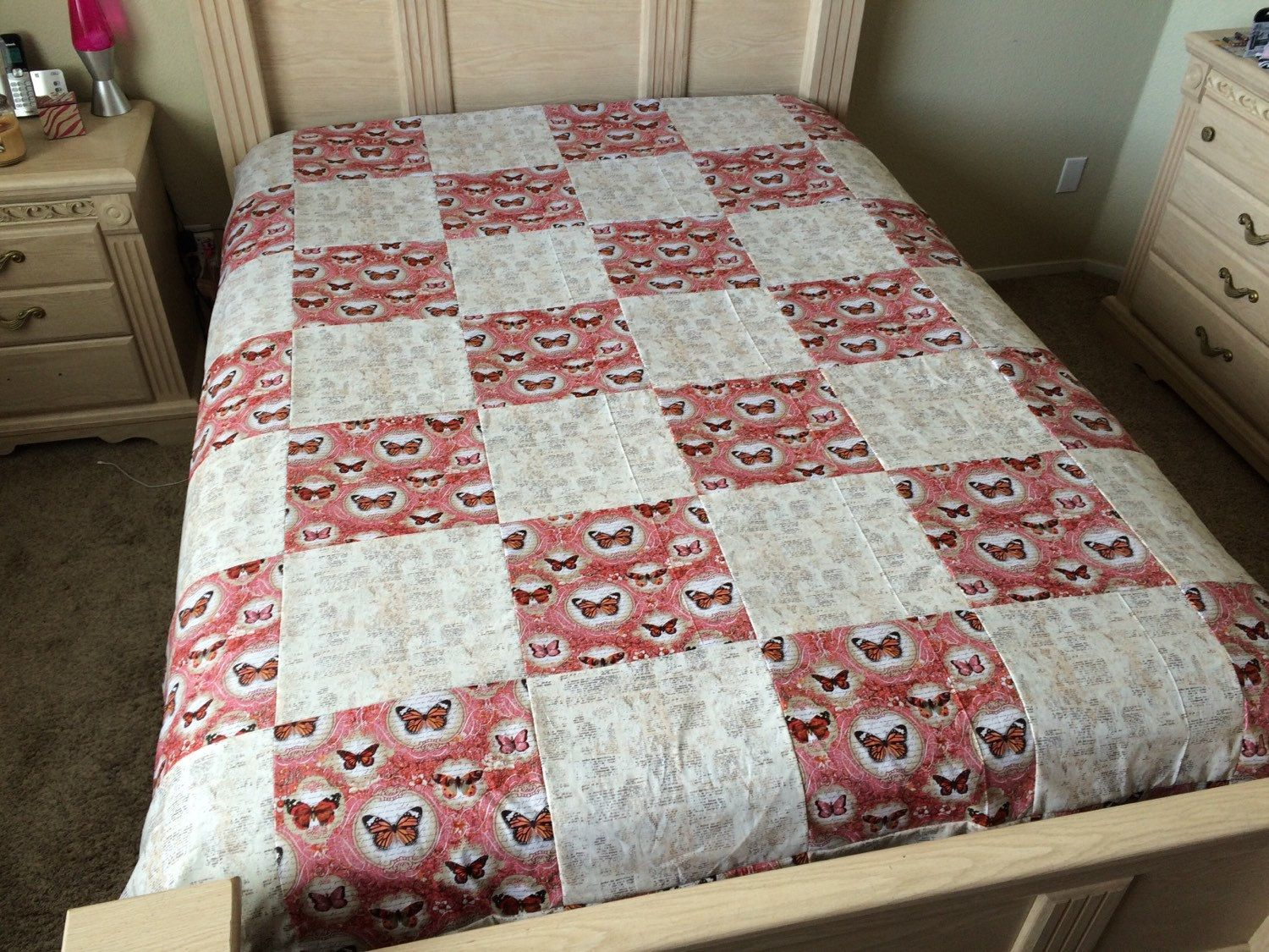 Pink and Beige Butterfly Quilt by LoveErinMarie on Etsy