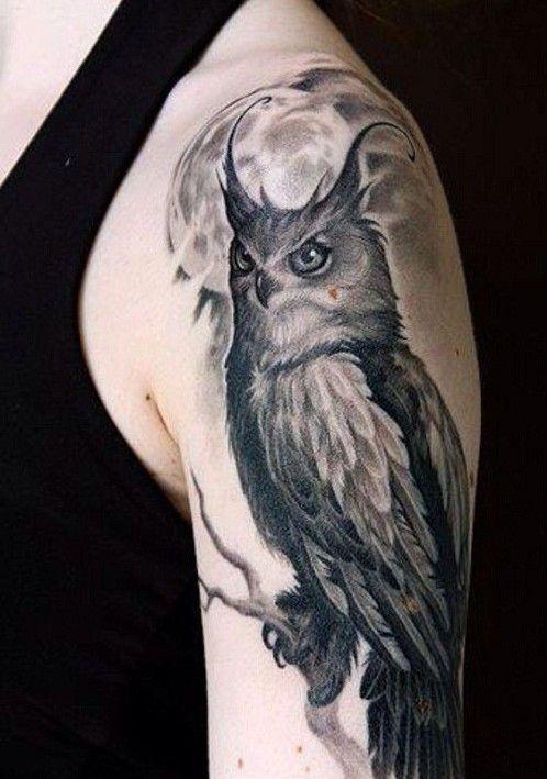 Full Moon And Owl Arm Tattoo Tatuaggi Disegni Di Tatuaggio Tatoo