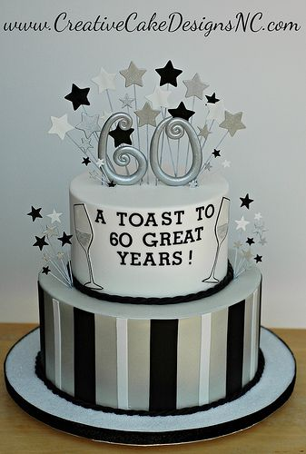 Image Via Fish Birthday Cake Or Something Like This With Cheers To 60 Years Orange Silver And White