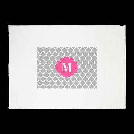 Gray Pink Quatrefoil Monogram 5x7'Area Rug on CafePress.com