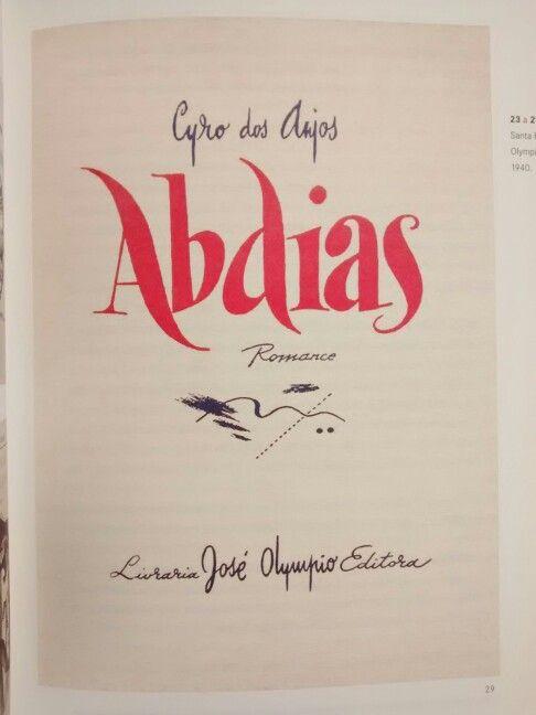 Cyro dos Anjos, Abdias. Capa de livro de Santa Rosa para a José Olympio, década de 1940.