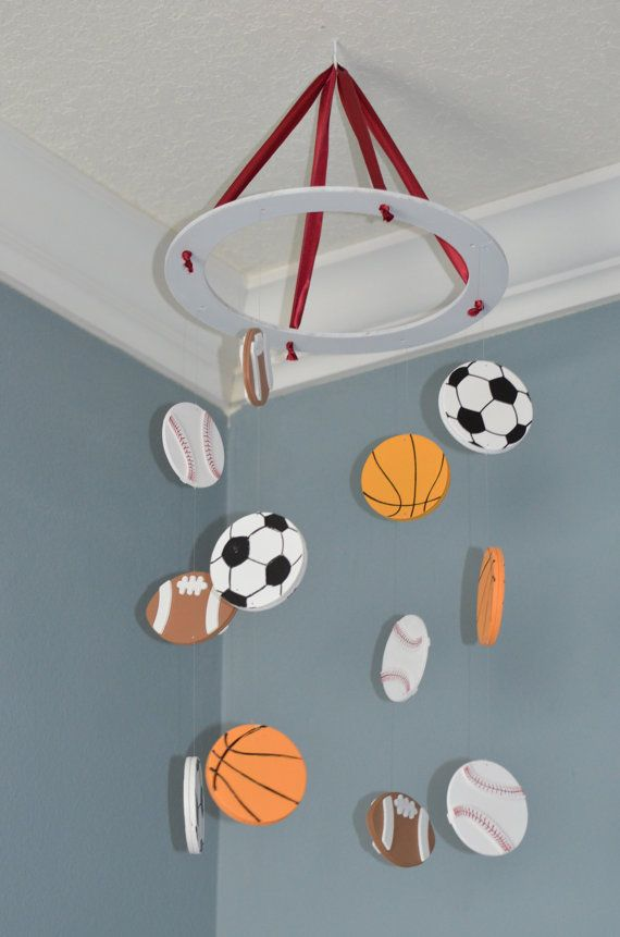 Sports Baby Mobile Nursery Decor Custom Wooden Soccer