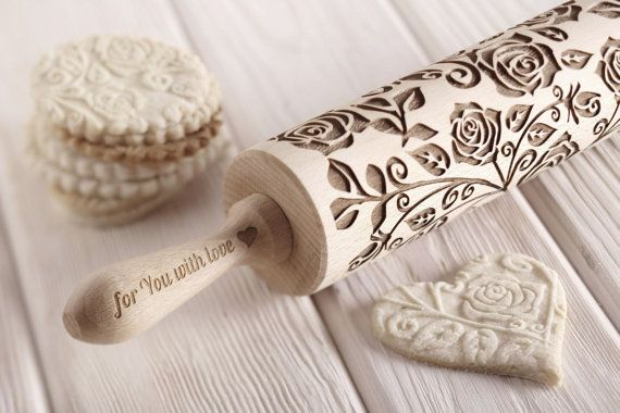 Baking gift mom Engraved rolling pin Cookie stamp Rolling pin Baking rolling pin Embossed rolling pin Wood gift mom New Year gift