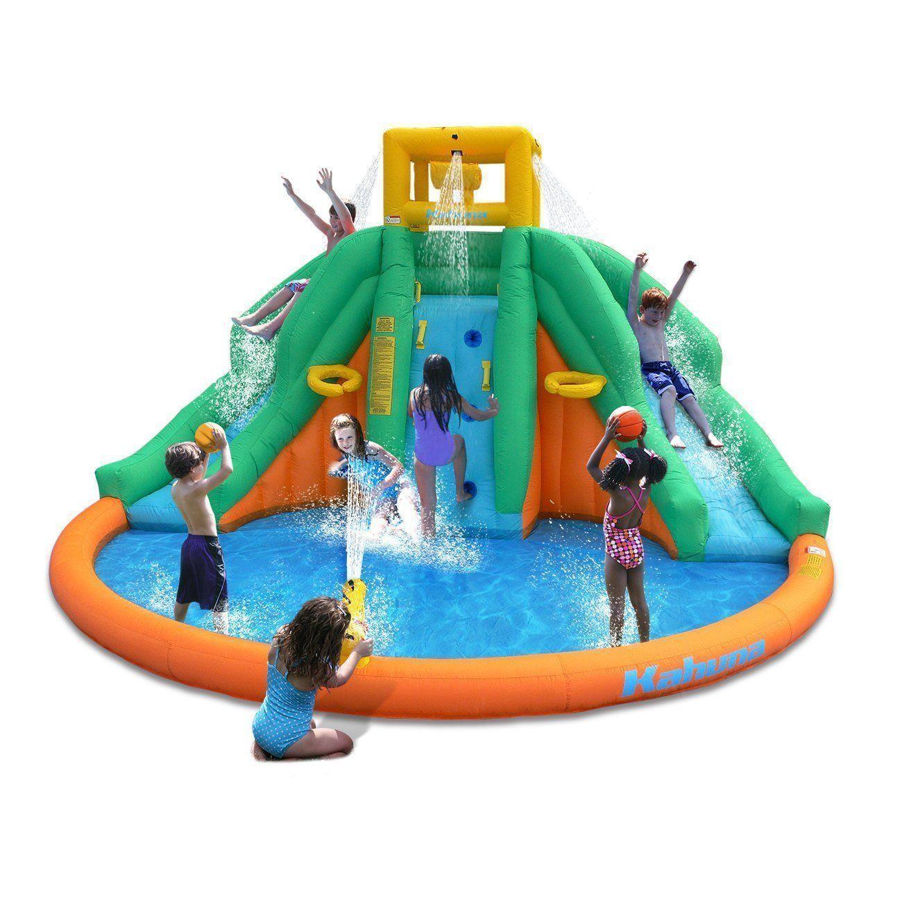 Amazon Com Magic Time Twin Peaks Kids Inflatable Splash Pool Backyard Water Slide Park Toys Games Kids Water Slide Splash Pool Inflatable Water Slide
