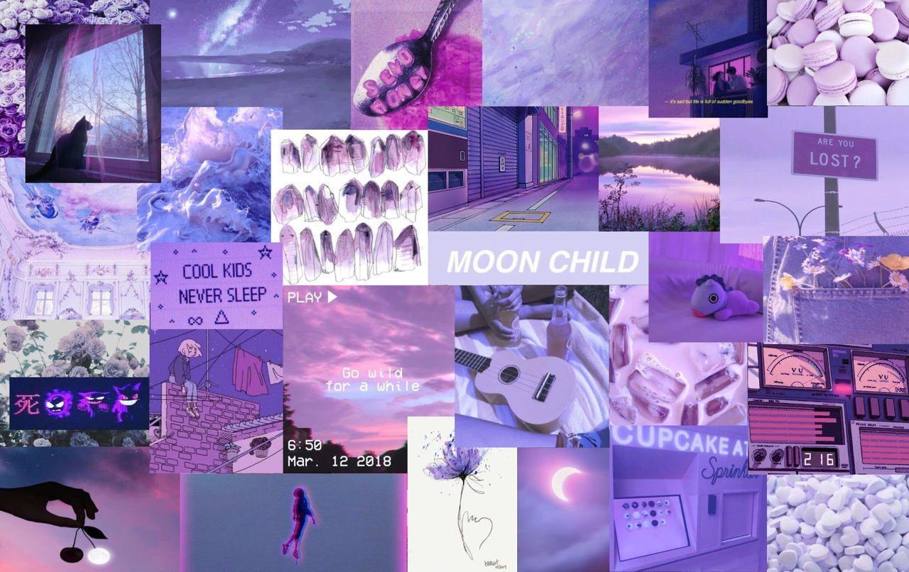 Aesthetic Collage Wallpaper Laptop Purple