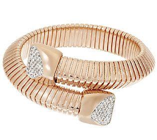 Bronzo Italia Bypass Tubogas Bracelet with Diamonique Endcaps