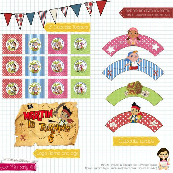 Printable Jake and The Neverland Pirate Party Kit  - by EZ Party Kits