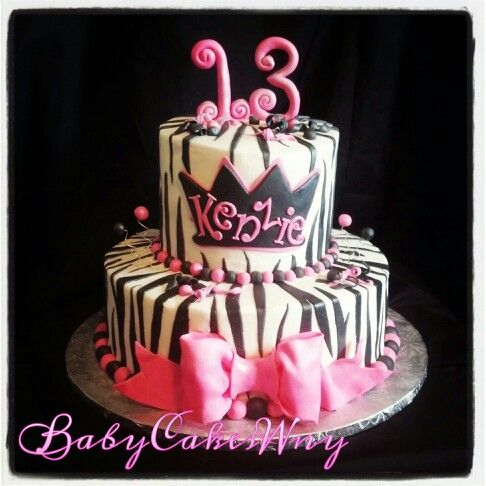 Black and white Zebra with pink girls birthday cake Girly bow