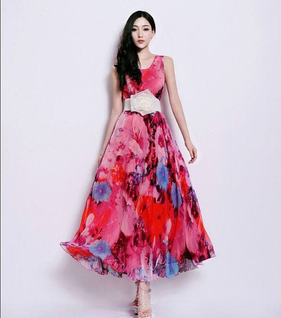 Silk A-line Dress Bohemian Pink Red Floral Print Full Pleated Skirt ...
