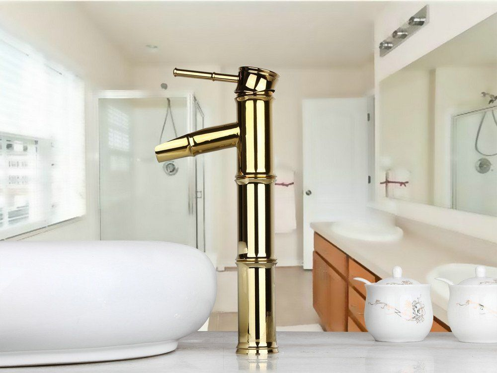 Photo of List of sources: Modern fittings made of gold and brass for the bathroom