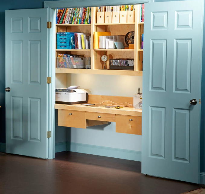 A Fully Enclosed Workspace In 2020 Home Office Storage Home Office Closet Storage And Organization