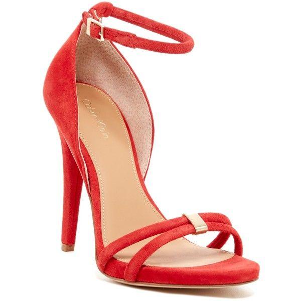 Womens Shoes Calvin Klein Nathali Lipstick Red Kid Suede