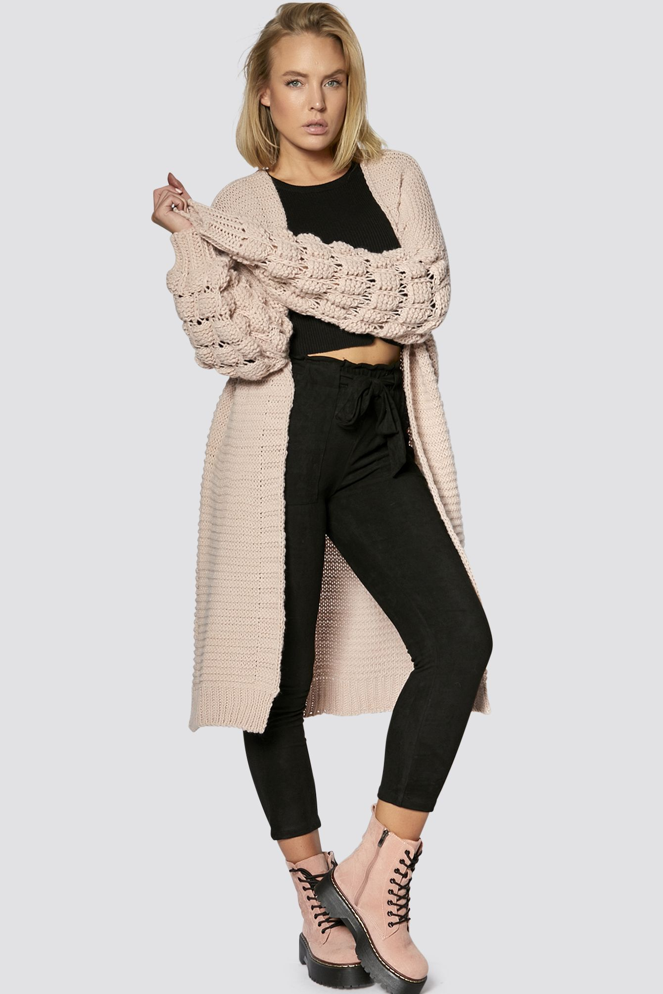Bobble Sleeve Knitted Long Cardigan 49 90 Euro Inkl Mwst