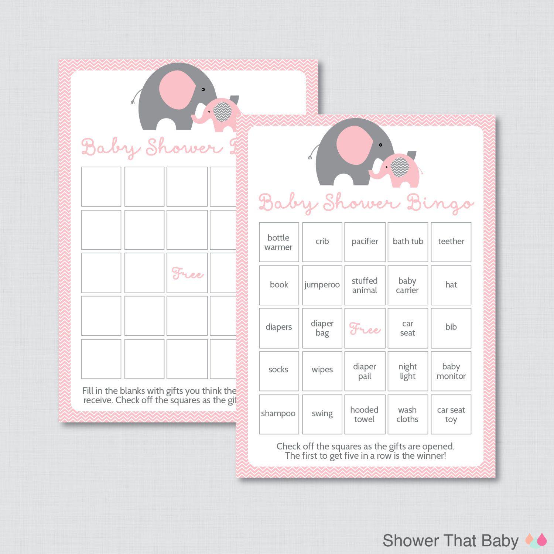 Elephant Baby Shower Bingo Cards Prefilled Bingo Cards AND Blank