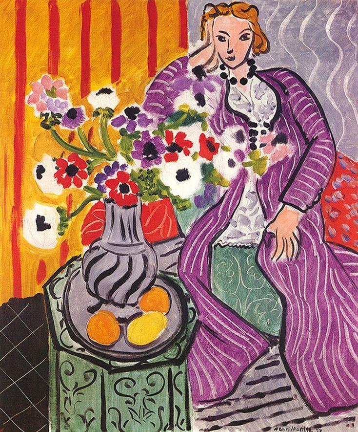 purple robe and anemones henri matisse