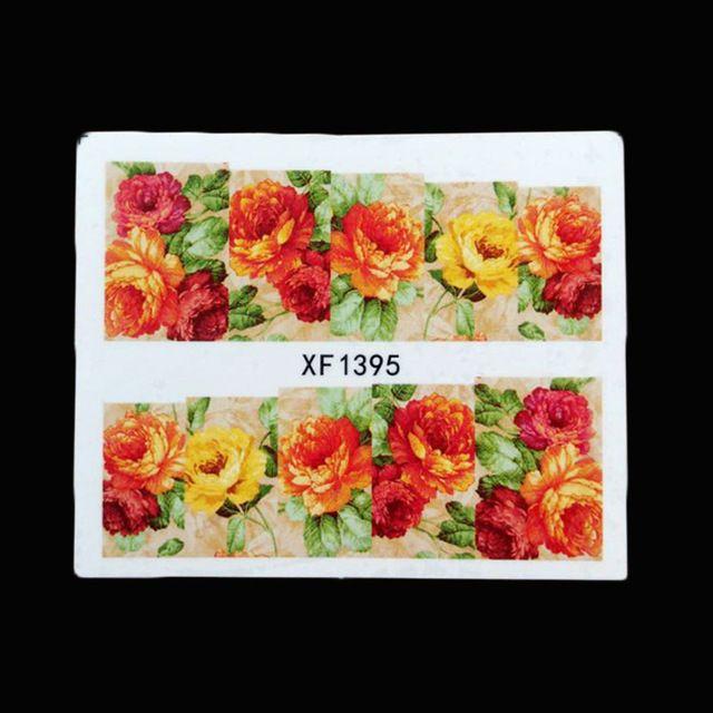 1 blätter Lila Rose Blume Nail art Wassertransfer Stciker Aufkleber Blume Sticker Tattoos Dekorationen Werkzeuge XF1395