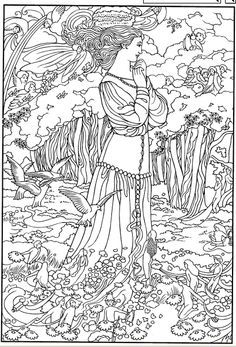 dover coloring book color your own victorian fairy paintings - Google Search