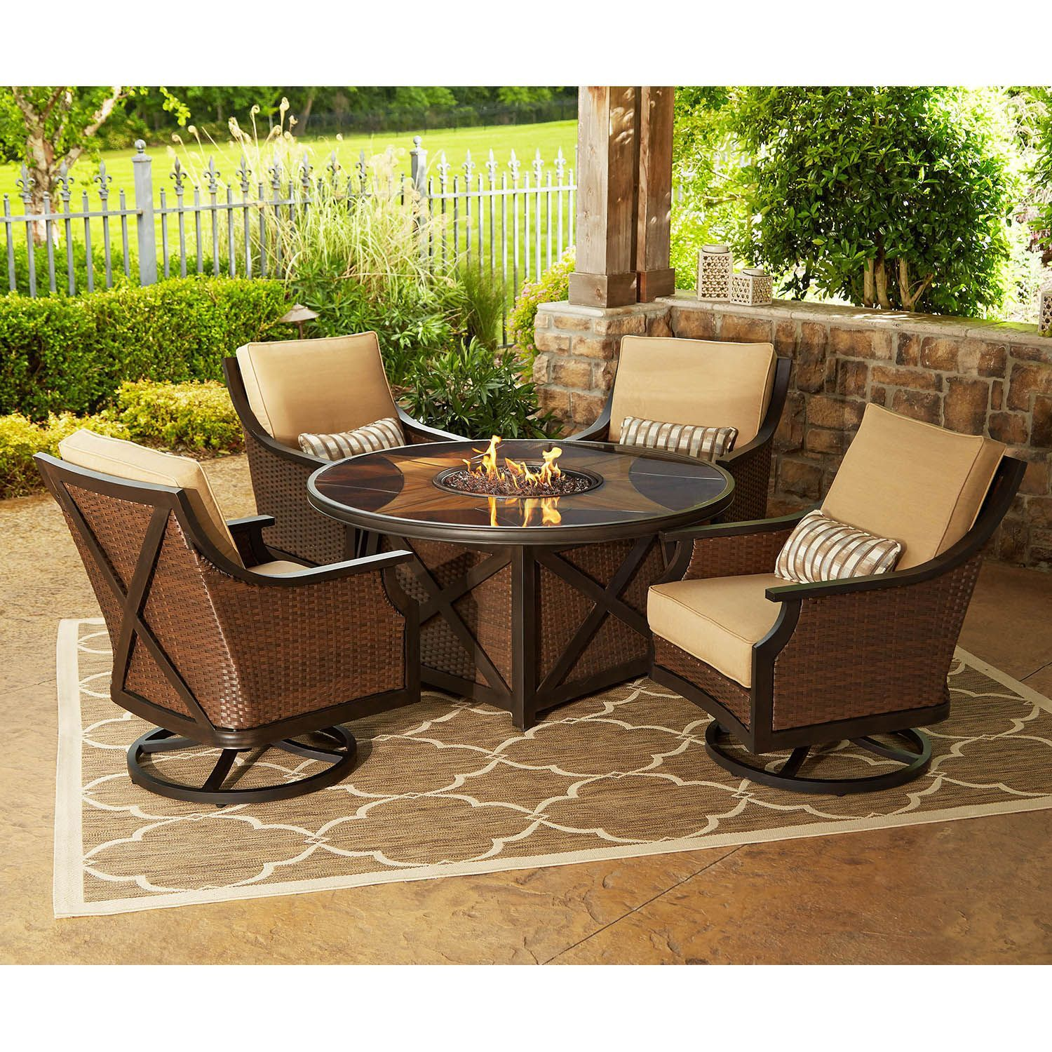 Member S Mark Berkeley 5 Piece Fire Chat Set Outdoor Furniture Sets Outdoor Seating Set White Furniture Living Room