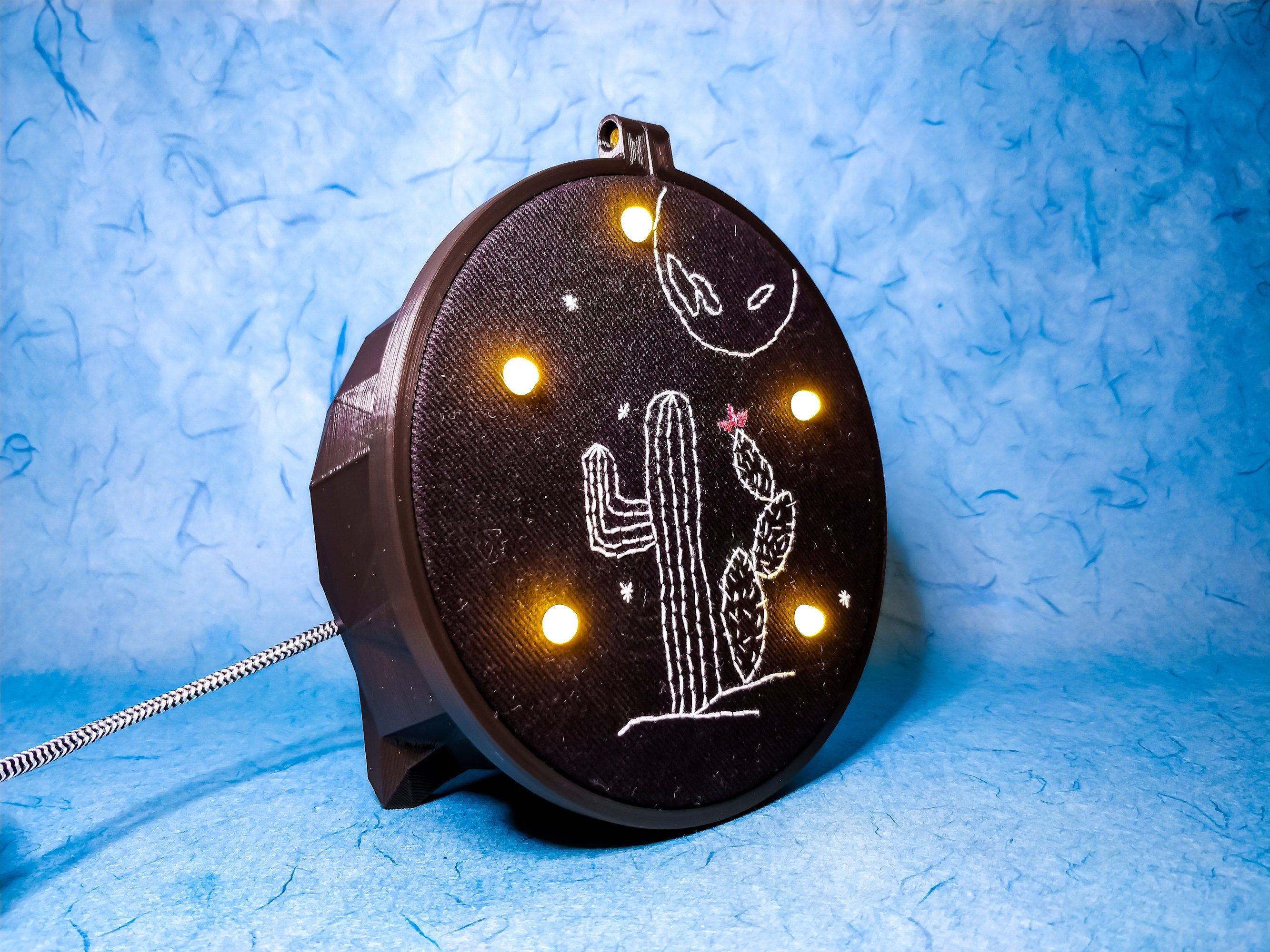 Cactus Lamp Hand Embroidered Cactus In A Full Moon Night Etsy In 2020 Embroidered Cactus Eco Gift Wrapping Experience Gifts