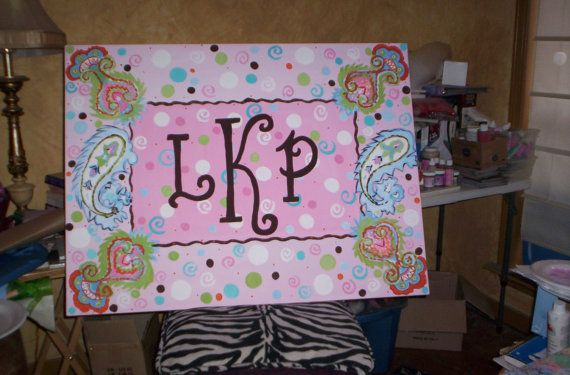 Paisley Personalized Canvas by DebbieHicksDesigns on Etsy, $135.50