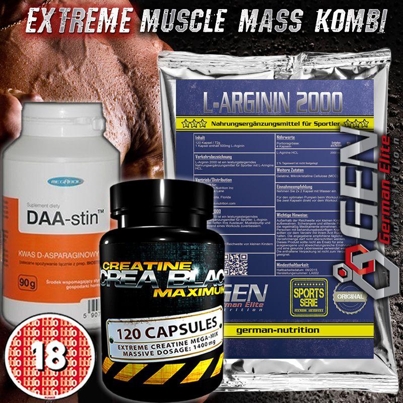 Extremer Muskelaufbau Creatin Black + Daa-Stin + L-Arginin No Anabolika DHEA