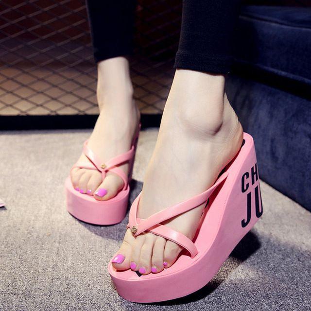 2015 Novos Saltos Ultra Alta Chinelos De Praia Verão Sandálias Plataforma Wedge Estilo Para As Mulheres Huarache Fl Cute Shoes Flats Cute Shoes Flip Flop Shoes