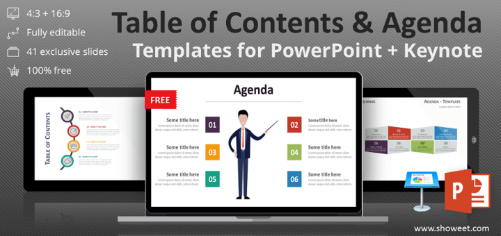 Free Table Of Contents Agenda Templates For Point And Keynote