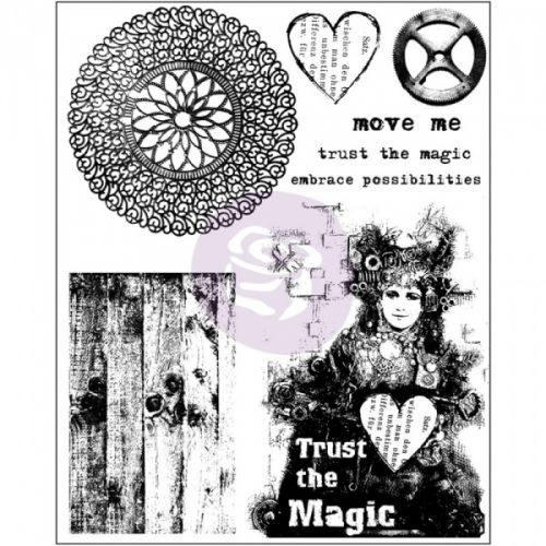 FINNABAIR - CLING STAMPS 962036 - TRUST THE MAGIC Mixed Media clingstamps fra PRIMA, designet av FINNABAIR.Stempelplaten måler ca 15,2cm x 19cm. Klar til bruk ved å feste på en akryll kloss, de finner du her   PRIMA MARKETING-Finnabair Cling Rubber Stamps. Create unique images quickly for your paper crafts! Apply to any acrylic block and stamp. This package contains eight cling rubber stamps on one 7- 1/2x5-7/8 inch backing sheet.