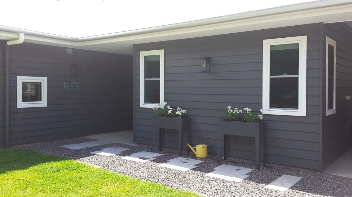 Lexicon full trim with taubmans grey knight and yellow pop house inspo pinterest grey for Taubmans exterior paint colours