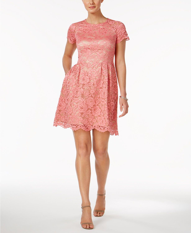 Vince Camuto Lace Fit Flare Dress Macys Com Fit Flare Dress Flare Dress Lace White Dress [ 1500 x 1230 Pixel ]