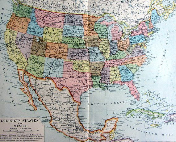 Antique political map of the United States of America and Mexico ...