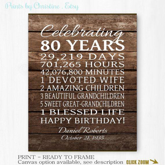 80th Birthday Gift 80 Years Gift For Grandpa By Printsbychristine