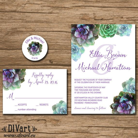 Succulent Wedding Invitation Suite Response Card By DIVart On Etsy
