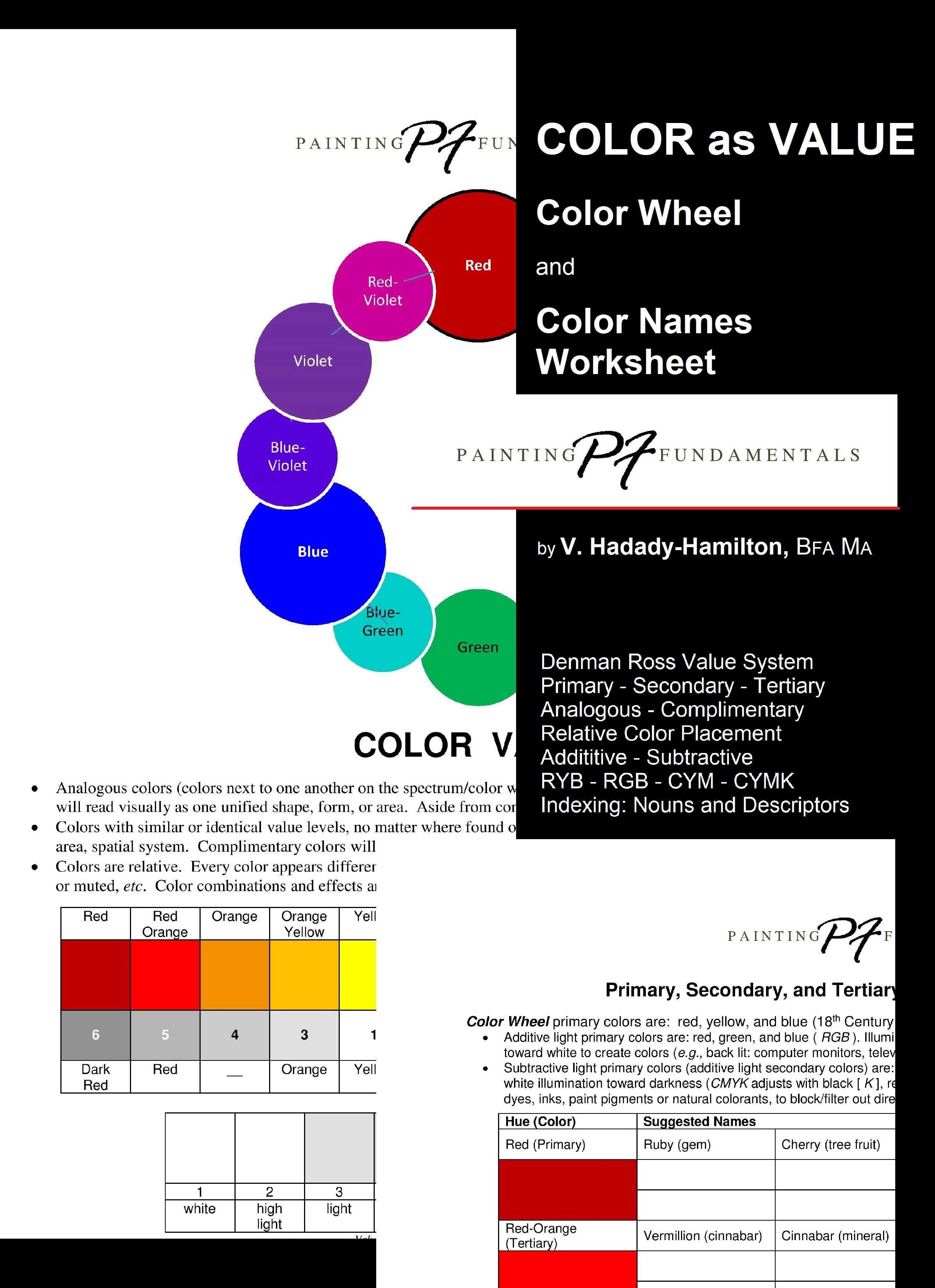 Color And Value Color Wheel And Color Names Worksheet