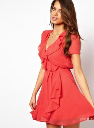 Starry Skater Dress With Ruffle Wrap deep Coral,  Dress, sexy chic dress lady, Chic