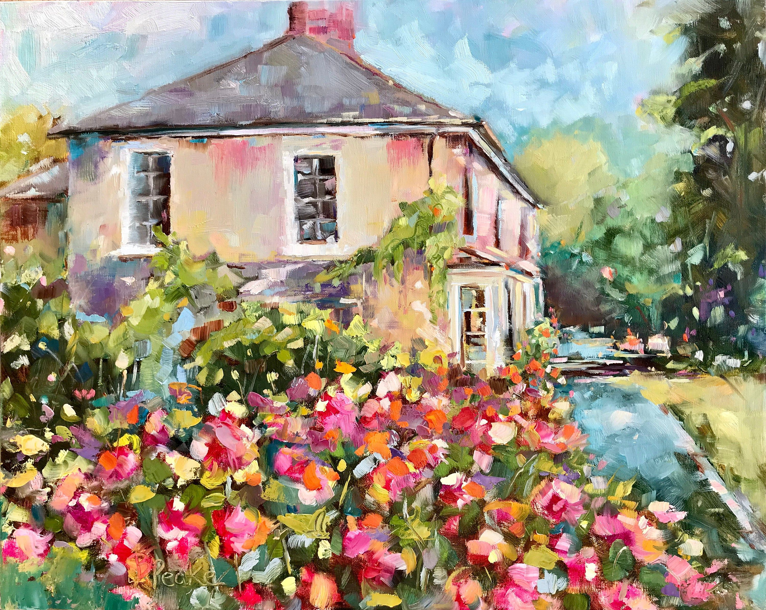 Original Art Oil Painting Country Home Floral Landscape Painting Impressionist Art Brenda Peake 16x20 Wall Art Garden Painting In 2020 Garden Painting Impressionist Art Contemporary Oil Paintings