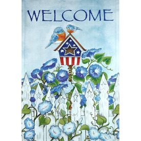 okay-- my first garden flag!!! yay! available now at LOWE'S!!!!!!! i would be so pleased if everyone had one in their yard!!!
