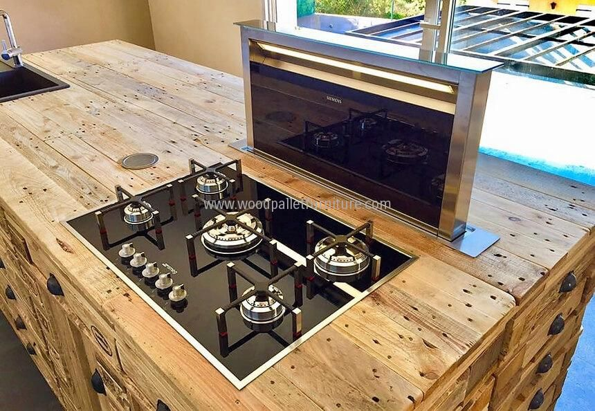 Fantastically Crafted This Wood Pallet Kitchen Island Is First Rated Craft Due To Its Simplicity Wood Pallet Furniture Pallet Kitchen Island Pallet Furniture