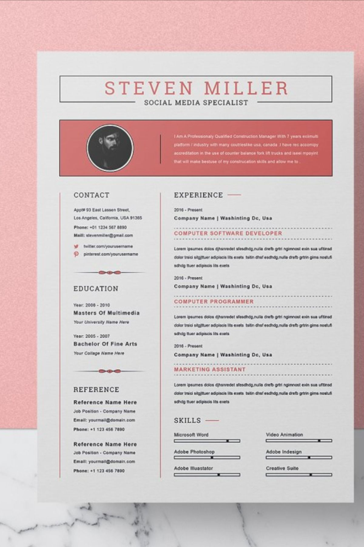 Resume Template / CV in 2020 Resume words, Resume
