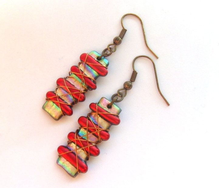 Red Striped Wire Wrapped Dangly Earrings. £8.00, via Etsy.