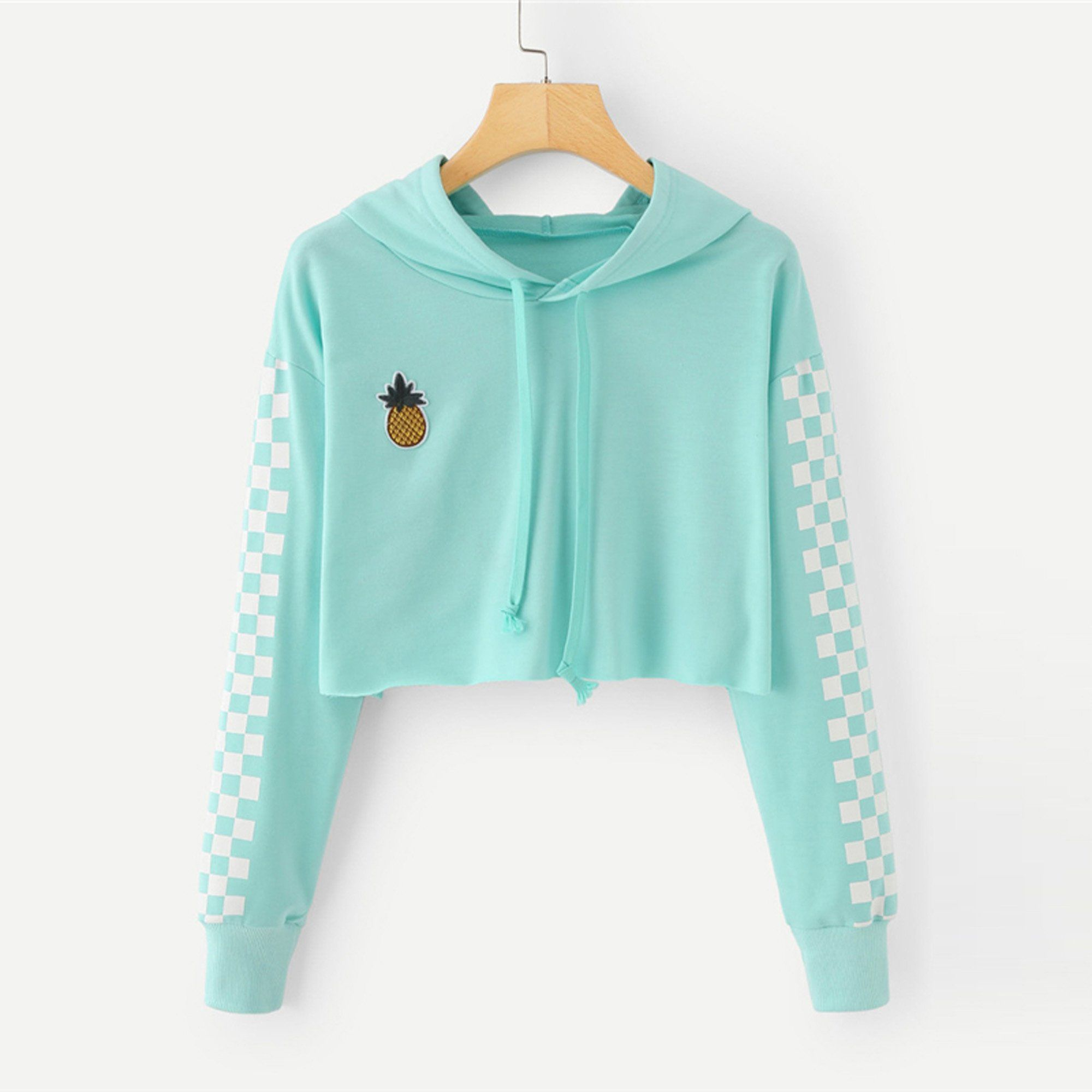 1871841058d2b Angie Pineapple Checkered Crop Top Hoodie Sweater in Mint Turquoise –  Glamanti Beauty
