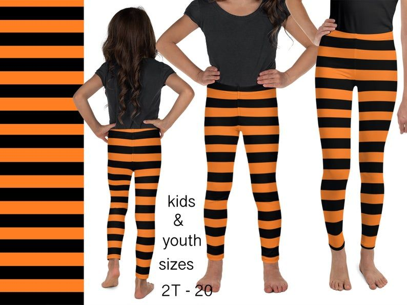 HALOWEEN NEON TIGHTS FOR GIRLS AGED 11-14 Orange Witches
