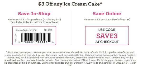 baskin robbins coupon 3 off 15 ice cream cake printable coupons rh pinterest com